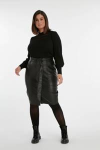 MS Mode coated rok met ceintuur zwart, Zwart
