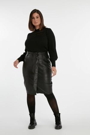 coated rok met ceintuur zwart