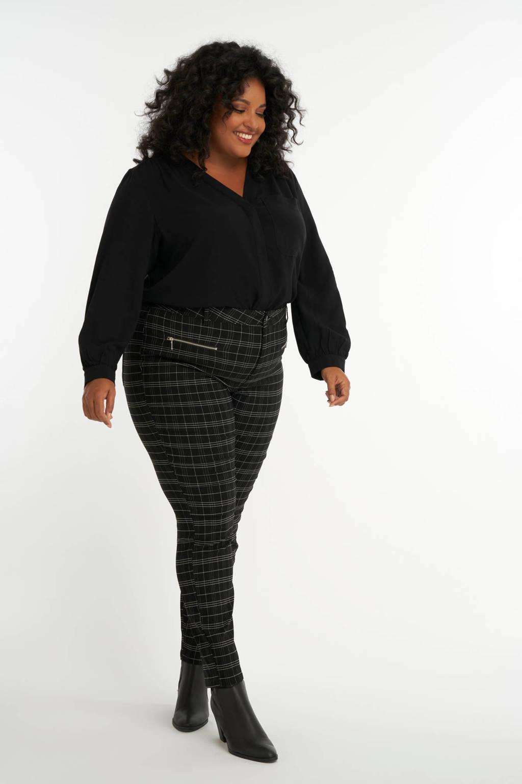 MS Mode geruite slim fit broek zwart/grijs, Zwart/grijs