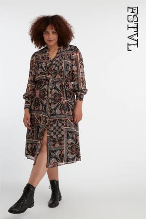 semi-transparante blousejurk met paisleyprint en plooien zwart/petrol/koraalrood