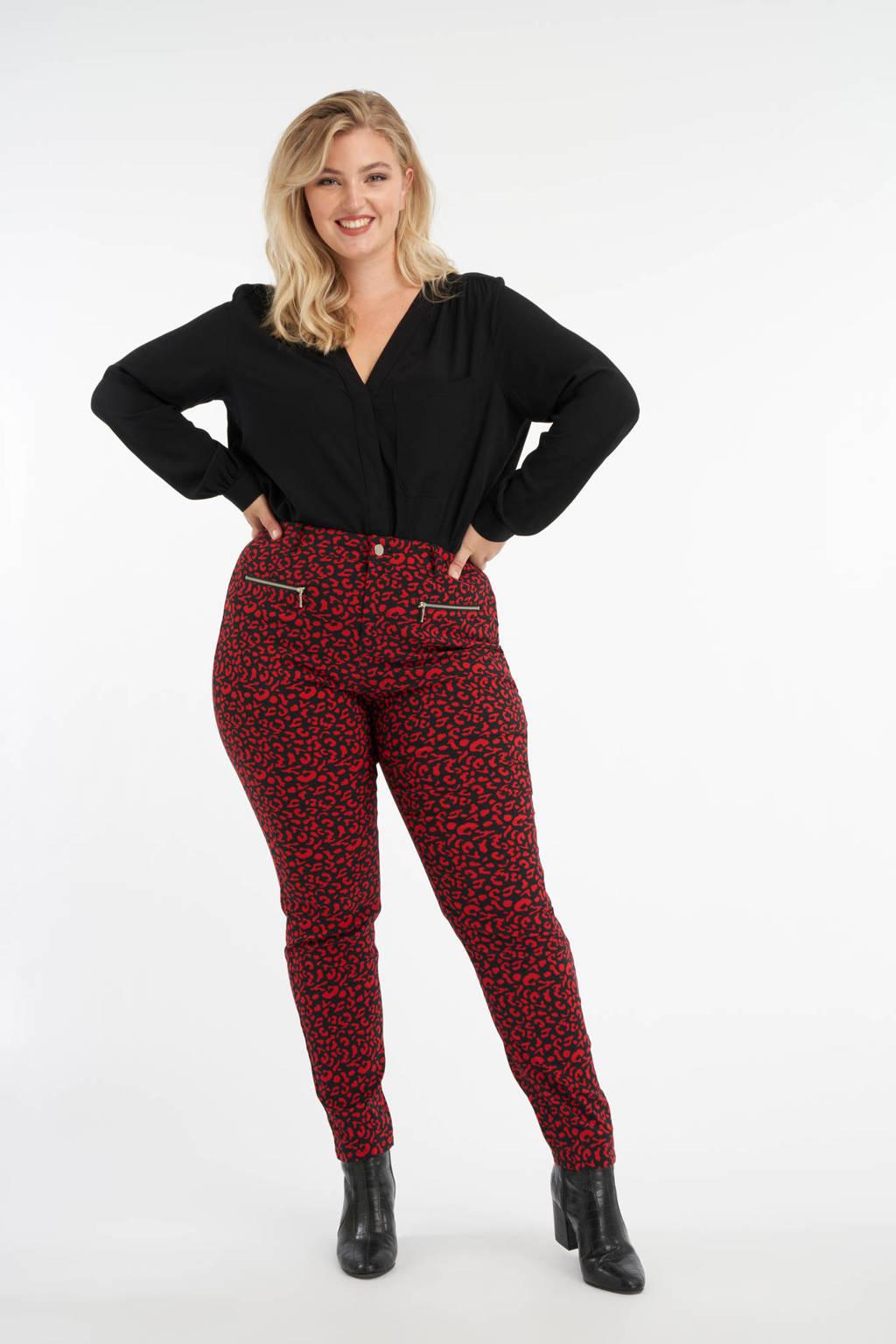 MS Mode skinny broek met panterprint rood/zwart/zilver, Rood/zwart/zilver
