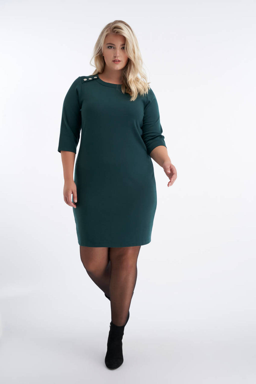 MS Mode jurk donkergroen/goud, Donkergroen/goud