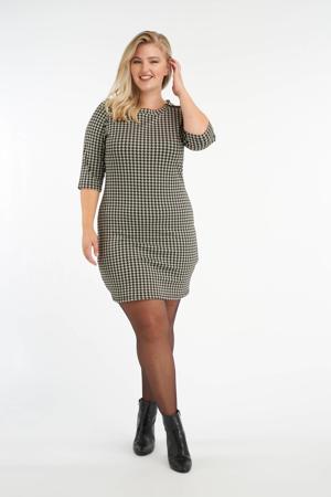 jurk met pied-de-poule zwart/wit