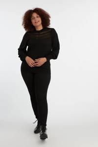 MS Mode trui met kant zwart, Zwart