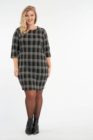 geruite jurk zwart/wit