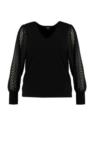 semi-transparante trui met textuur zwart