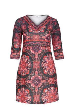 jurk met all over print en glitters rood/antraciet/paars