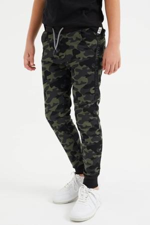 slim fit joggingbroek met camouflageprint legergroen