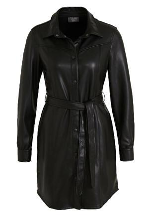 coated blousejurk met ceintuur zwart