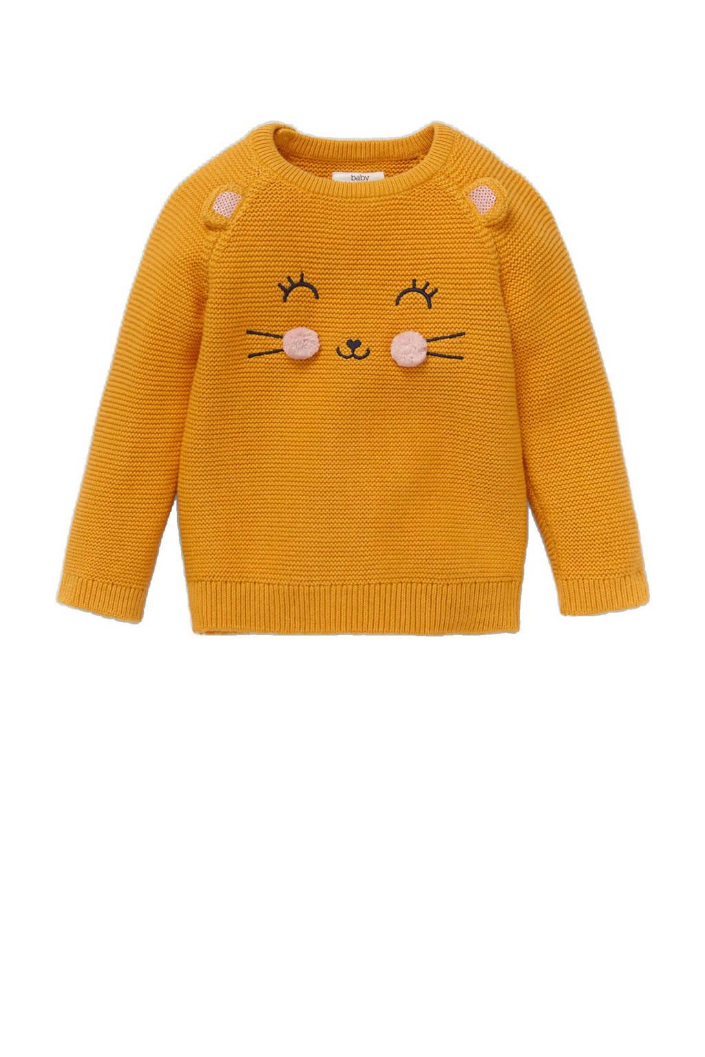C&A Baby Club trui van biologisch katoen okergeel/zwart/lichtroze, Okergeel/zwart/lichtroze