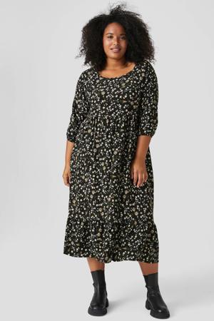 gebloemde maxi jurk zwart/lichtgeel/groen