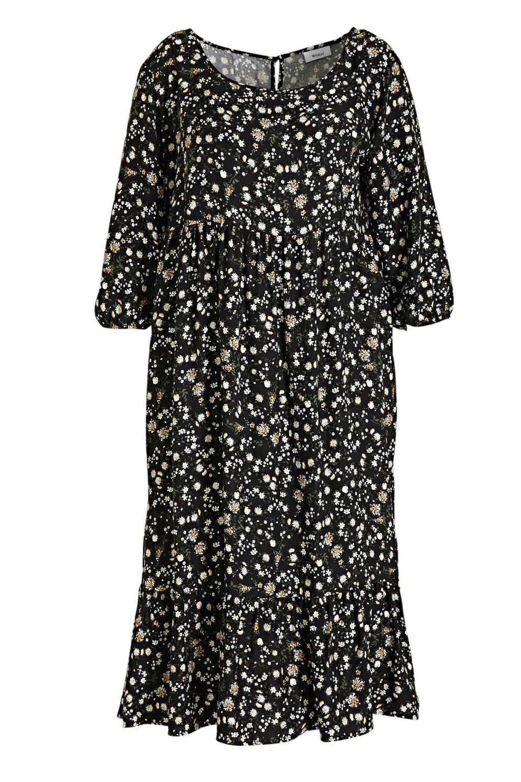 C&A XL Yessica gebloemde maxi jurk zwart/lichtgeel/groen, Zwart/lichtgeel/groen