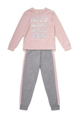 pyjama roze/grijs melange