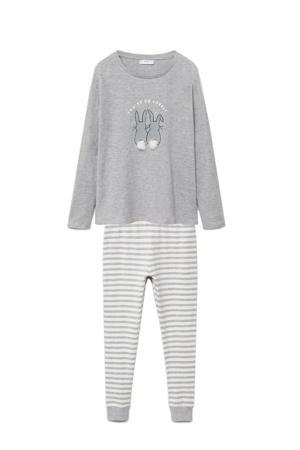 pyjama met printopdruk en pompoms grijs melange/wit