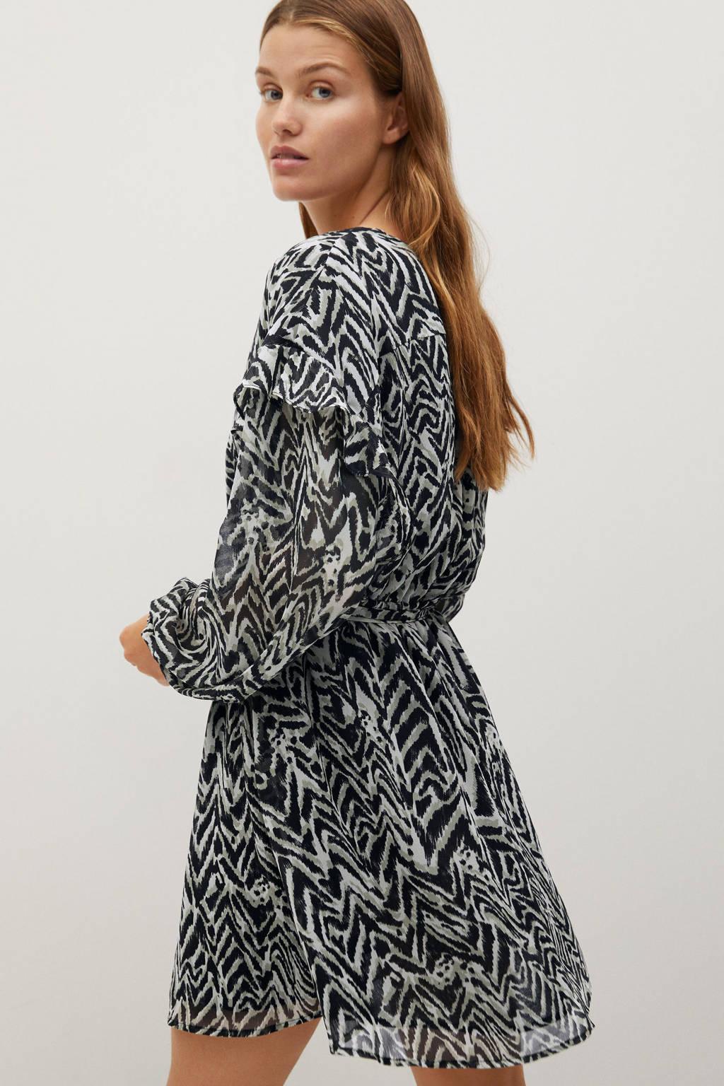 Mango semi-transparante jurk met dierenprint en ruches beige/ zwart