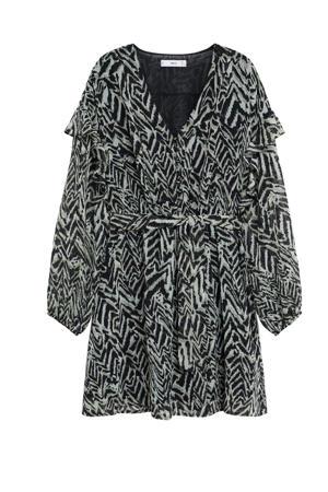semi-transparante jurk met dierenprint en ruches beige/ zwart