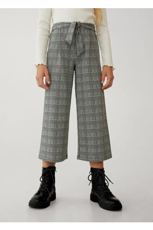 geruite broek van gerecycled polyester zwart/wit