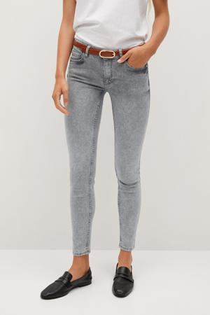 coated low waist skinny jeans grijs