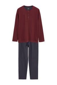 Mango Man pyjama met strepen donkerrood/donkerblauw, Donkerrood/donkerblauw