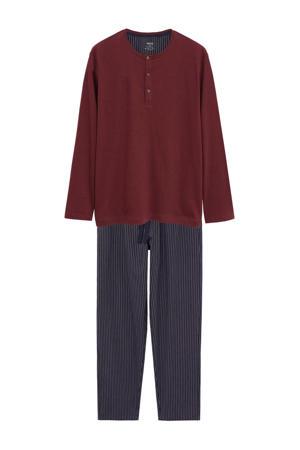 pyjama met strepen donkerrood/donkerblauw