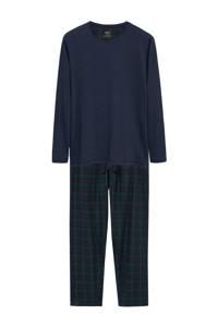 Mango Man pyjama met ruit donkerblauw/groen, Donkerblauw/groen