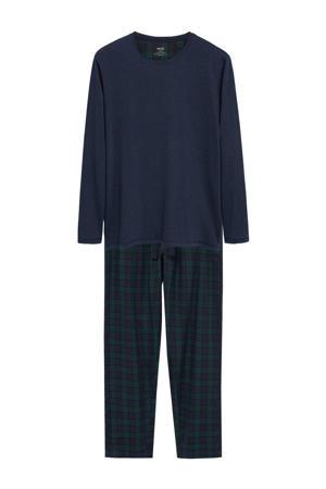 pyjama met ruit donkerblauw/groen