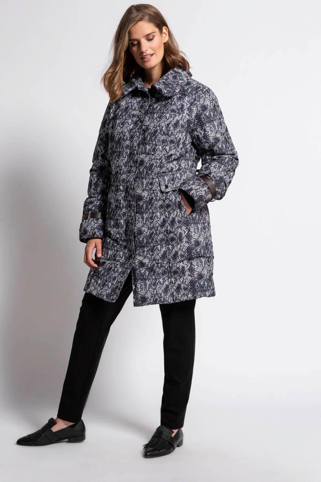 Ulla Popken coat met slangenprint donkergroen/zwart/wit