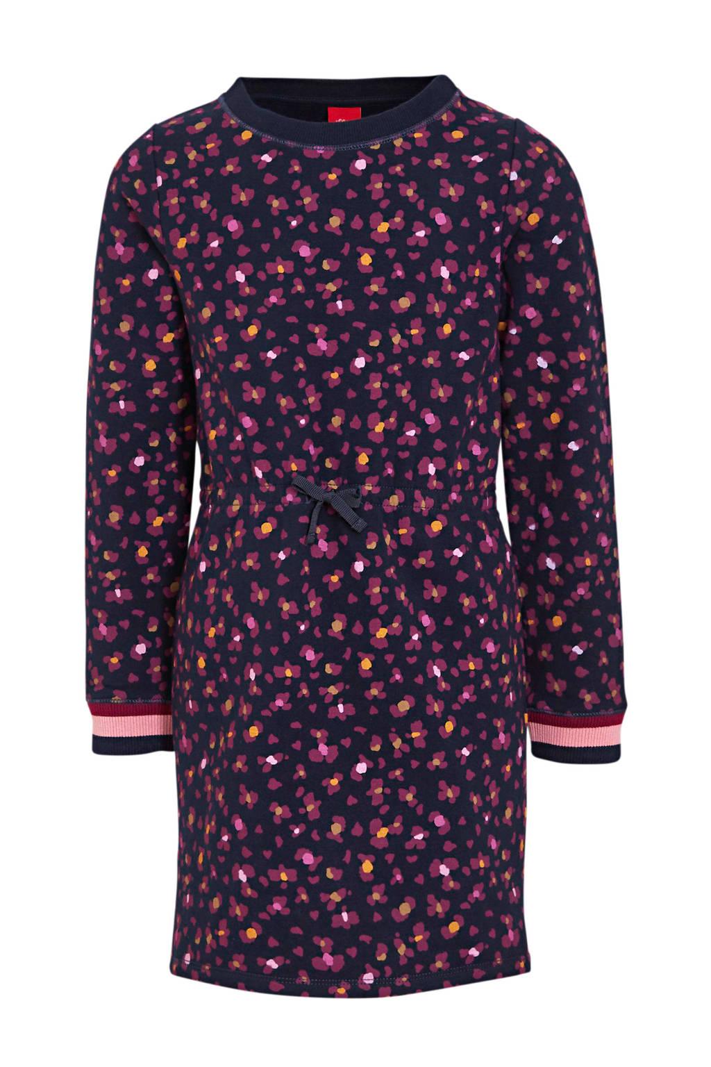 s.Oliver jurk met all over print blauw/zwart/geel, Blauw/zwart/geel