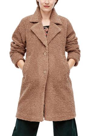 gemêleerde teddy winterjas bruin