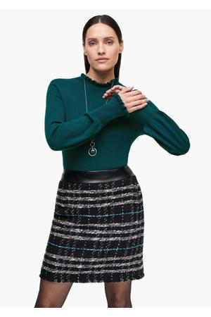 gemêleerde fijngebreide trui met wol petrol