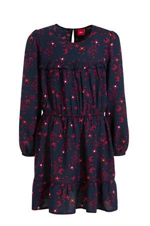 gebloemde A-lijn jurk donkerblauw/rood