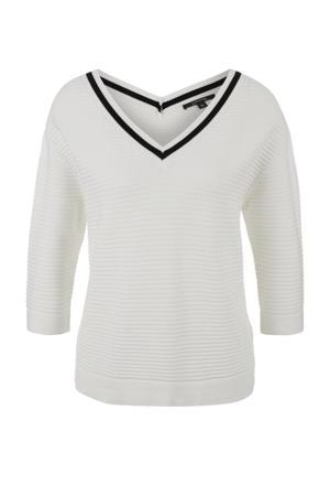 ribgebreide trui wit/zwart