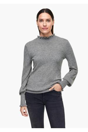 gemêleerde fijngebreide trui met wol lichtgrijs