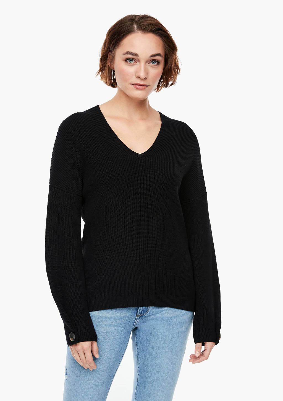 s.Oliver grofgebreide trui zwart, Zwart