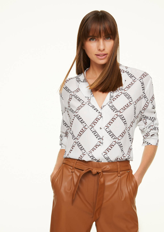 comma blouse met all over print wit/zwart/rood, Wit/zwart/rood