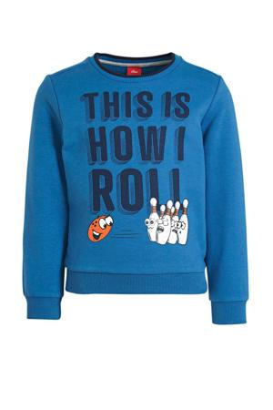 sweater met tekst blauw/zwart/wit