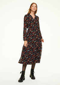 comma casual identity semi-transparante jurk met all over print en volant zwart/rood/blauw, Zwart/rood/blauw
