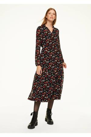 semi-transparante jurk met all over print en volant zwart/rood/blauw