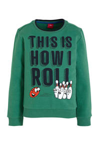 s.Oliver sweater met tekst groen/donkerblauw, Groen/donkerblauw
