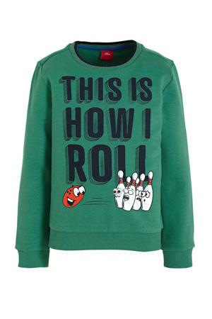sweater met tekst groen/donkerblauw