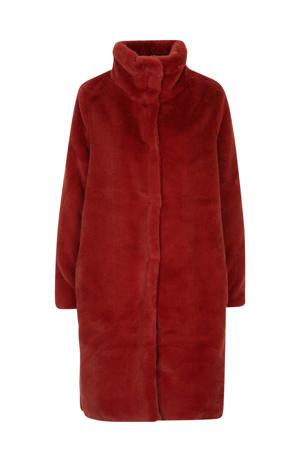 imitatiebont winterjas met panterprint rood