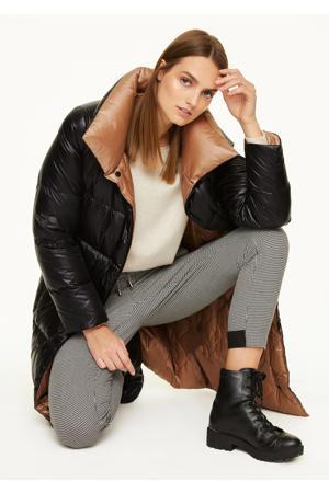 gewatteerde jas zwart/bruin