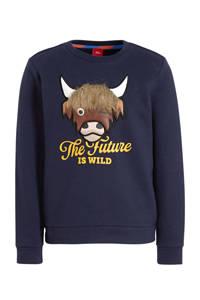 s.Oliver sweater met dierenprint en 3D applicatie donkerblauw, Donkerblauw