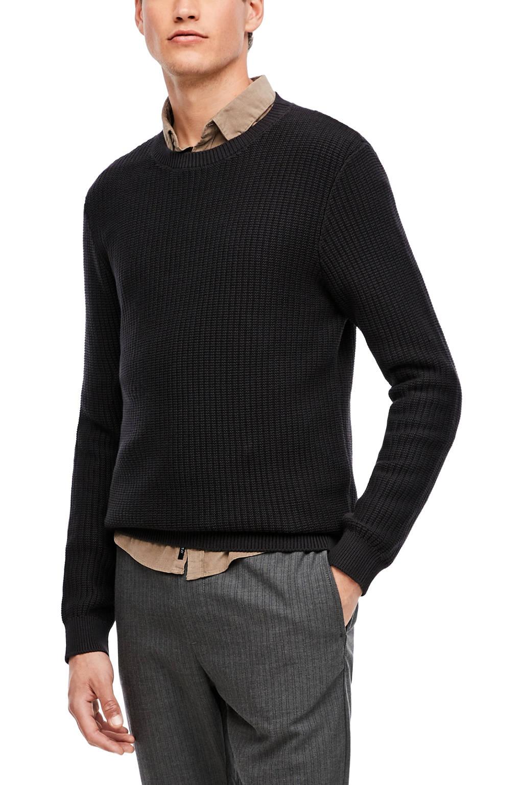 Q/S designed by fijngebreide trui zwart, Zwart