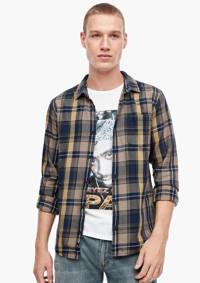 Q/S designed by geruit regular fit overhemd taupe/donkerblauw/geel, Taupe/donkerblauw/geel
