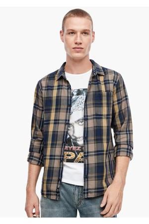 geruit regular fit overhemd taupe/donkerblauw/geel