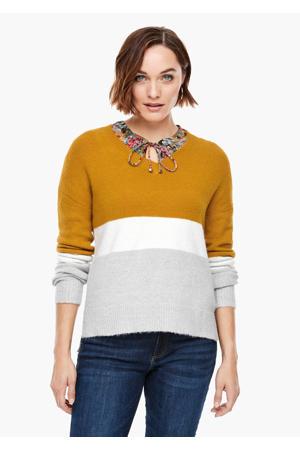 fijngebreide trui okergeel/wit/lichtgrijs