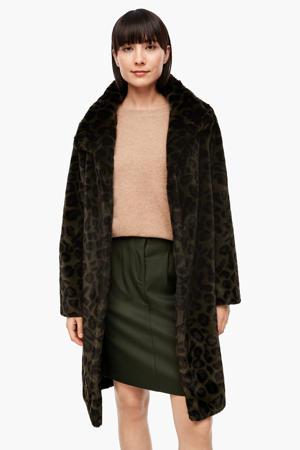 imitatiebont winterjas met panterprint donkergroen/zwart