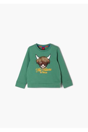 sweater met dierenprint en 3D applicatie groen