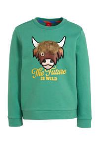 s.Oliver sweater met dierenprint en 3D applicatie groen, Groen